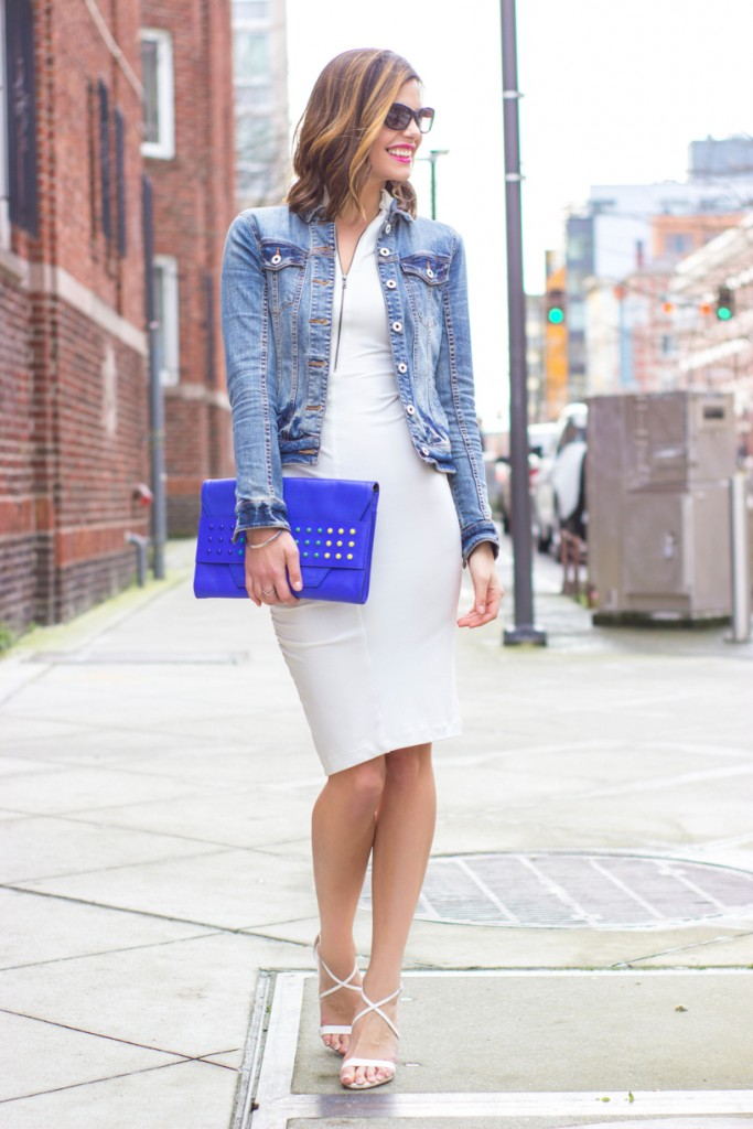 ThredUP Little White Dress and Denim Jacket