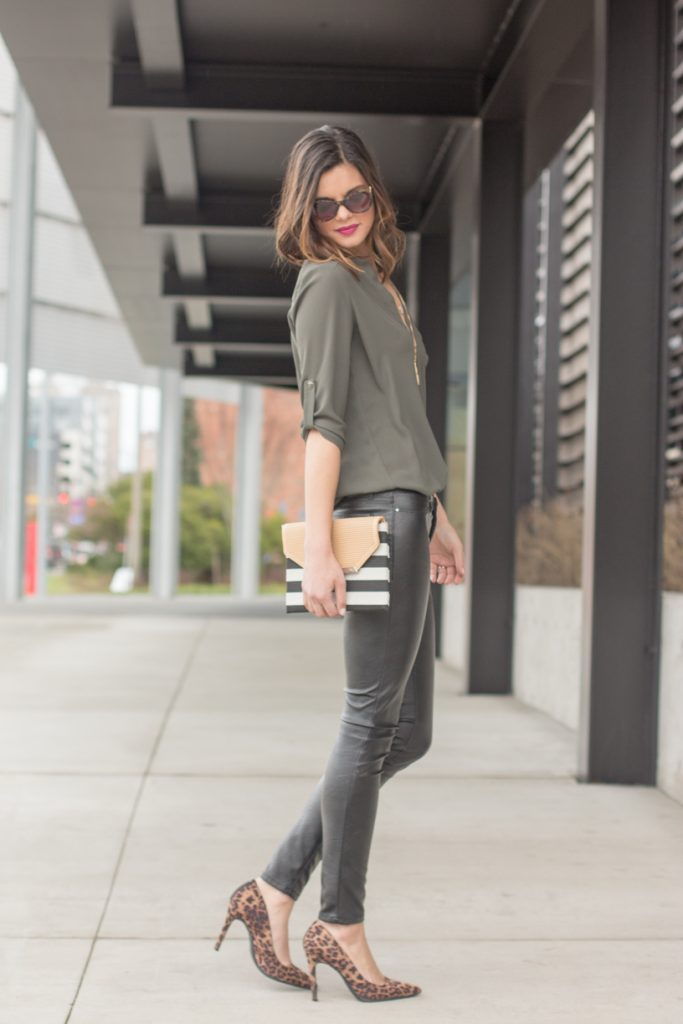 213a8f8c97a0e6 Leather leggings, olive green tunic, striped clutch, and leopard print heels