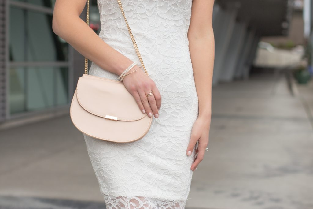 Backless Little White Lace Dress | Neutral Accessories