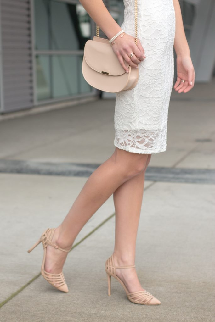 Backless Little White Lace Dress | Nude Accessories