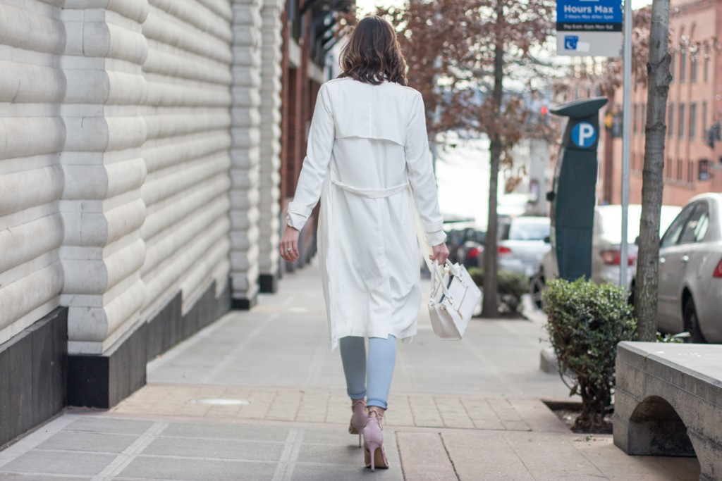 White Trench coat with Pastel Colors