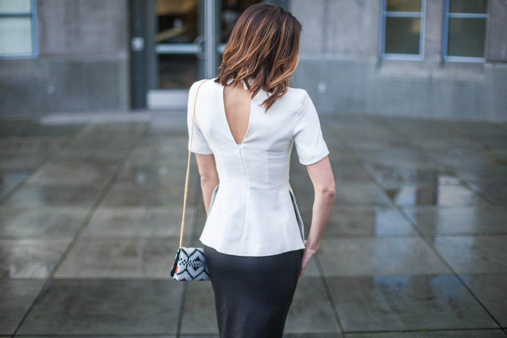 Black and White Peplum Top and Pencil Skirt
