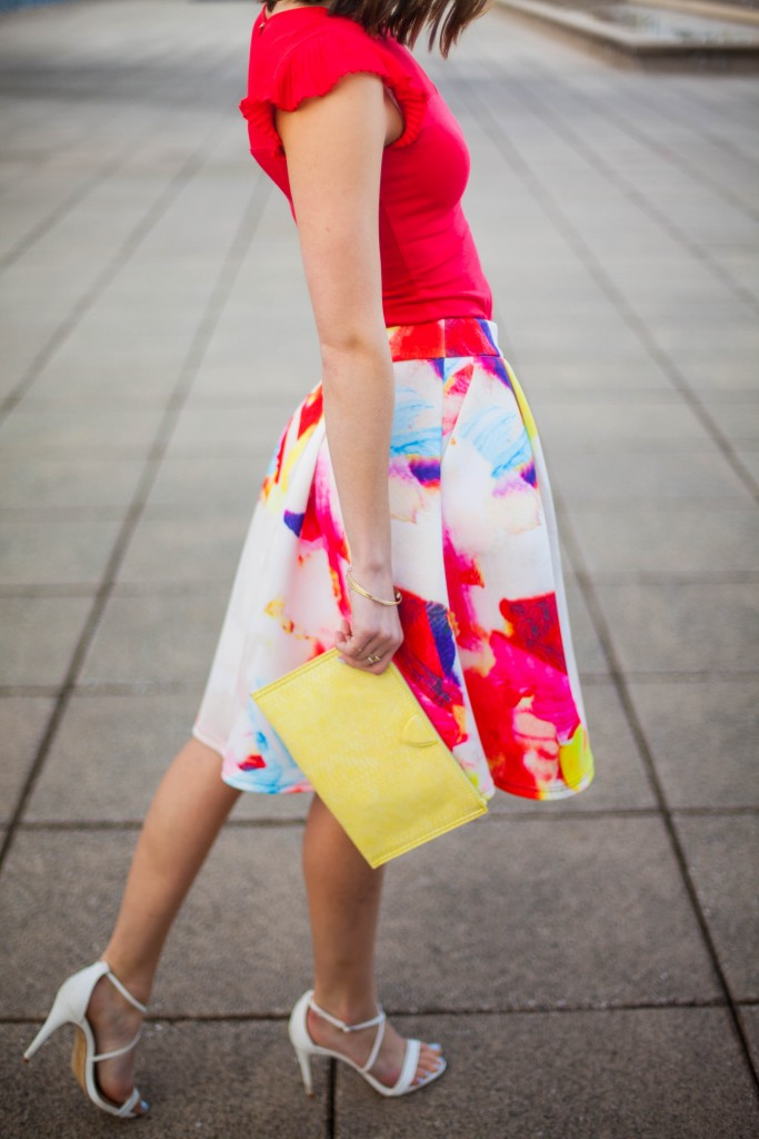 Colorful skirt with bold red top