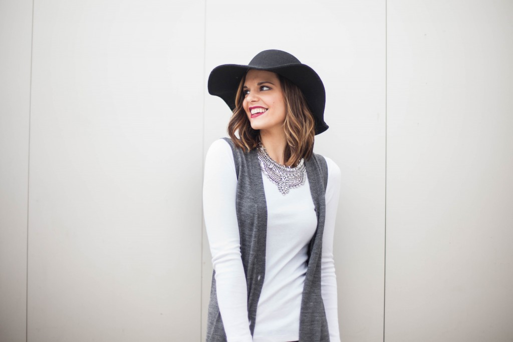 Duster Cardigan, White Pumps, Floppy Hat