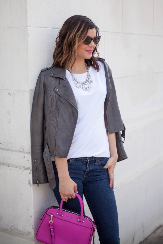 Elegantees, White TShirt, Denim, Moto Jacket
