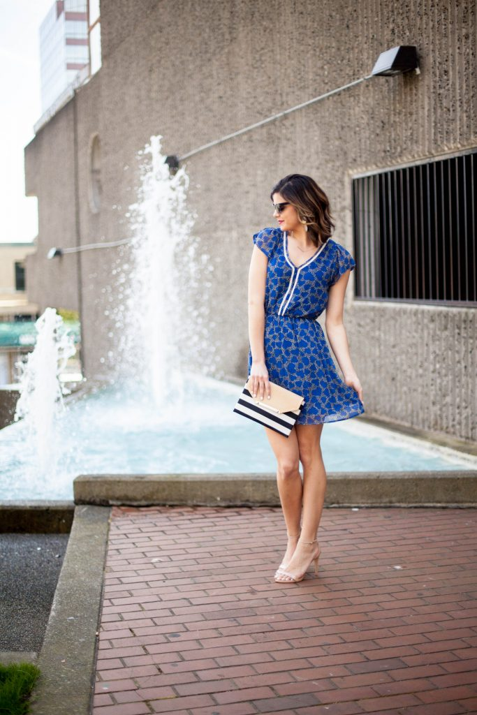 Striped Clutch, Maison Jules Cobalt Blue Spring Dress, Nude Heels