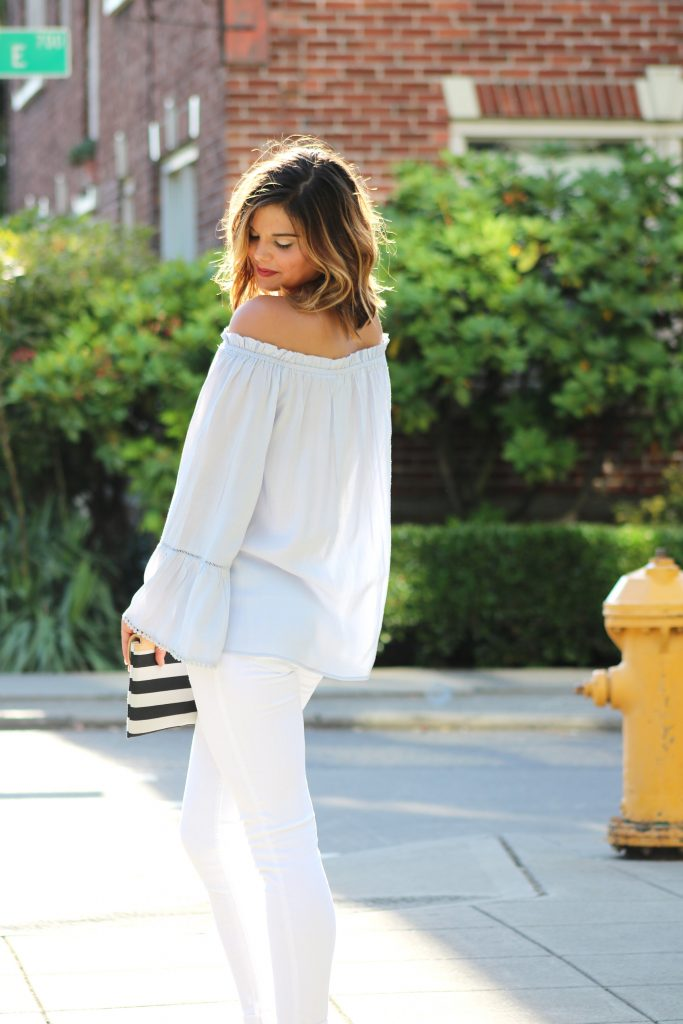 Boho Chic | Blue and White | Off The Shoulder Top | Bohemian Vibes | Striped Clutch | Caged Heels |