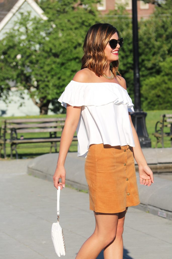 Off the shoulder top | Boho Chic | Bohemian | Suede Skirt | Gladiator Sandals