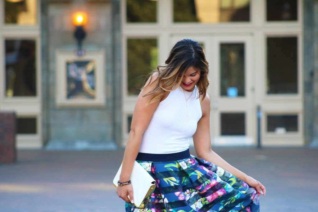 Floral and Striped Midi Skirt | Style Tips | Feminine and Fun