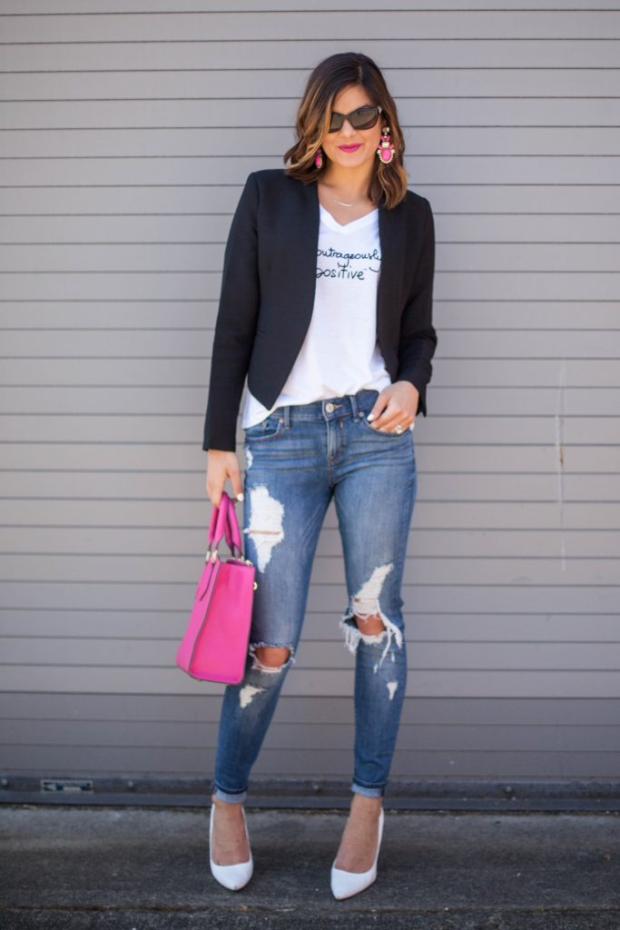Motivational Quotes | Distressed Denim | White Heels | Black Blazer | Le Motto Tshirt