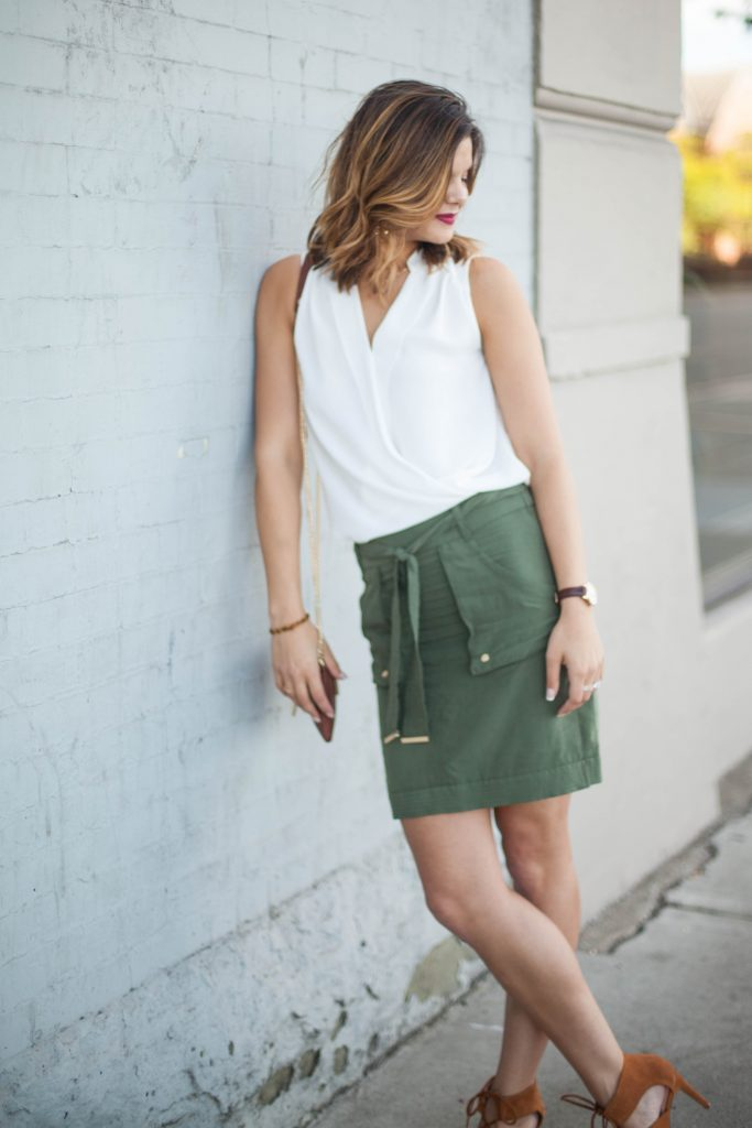 Military Green Utility Skirt | Summer Fashion | Style Miss Molly