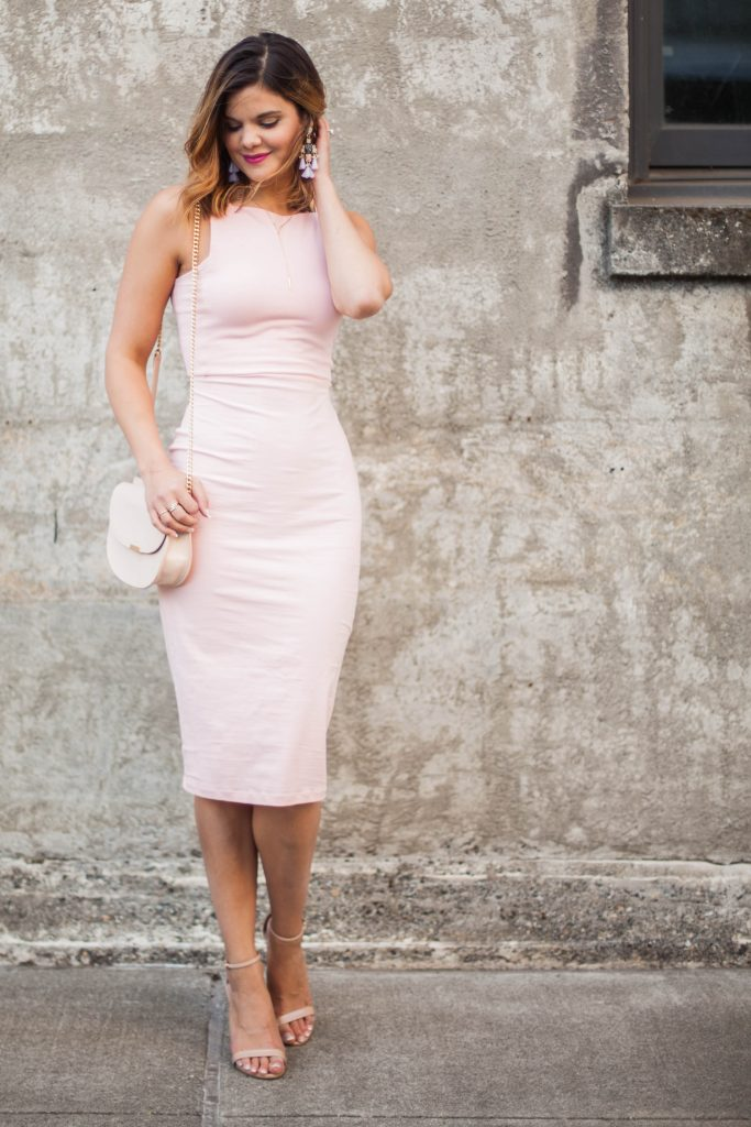 Style Miss Molly | Pink Bodycon Midi Dress | Neutral Accessories | Body Image | Confidence