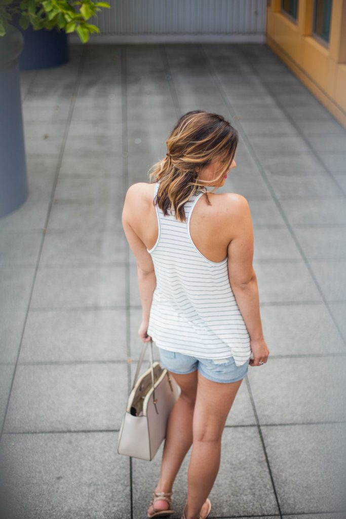 HERboutique.com | Distressed Shorts | Racerback Tank | Striped Top | Summer Fashion | Style Miss Molly