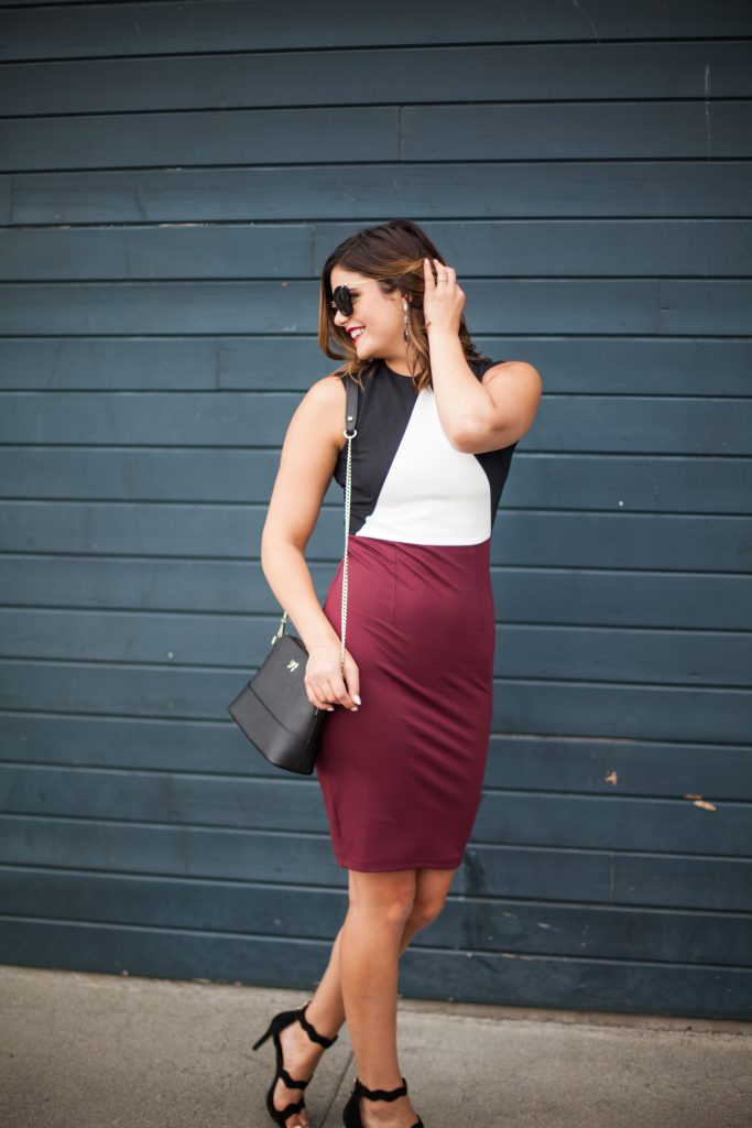 Vipme.com - Use code SIMolly118 to get $5 off | Color blocking sheath dress | Crossbody mini bag | Black Heels