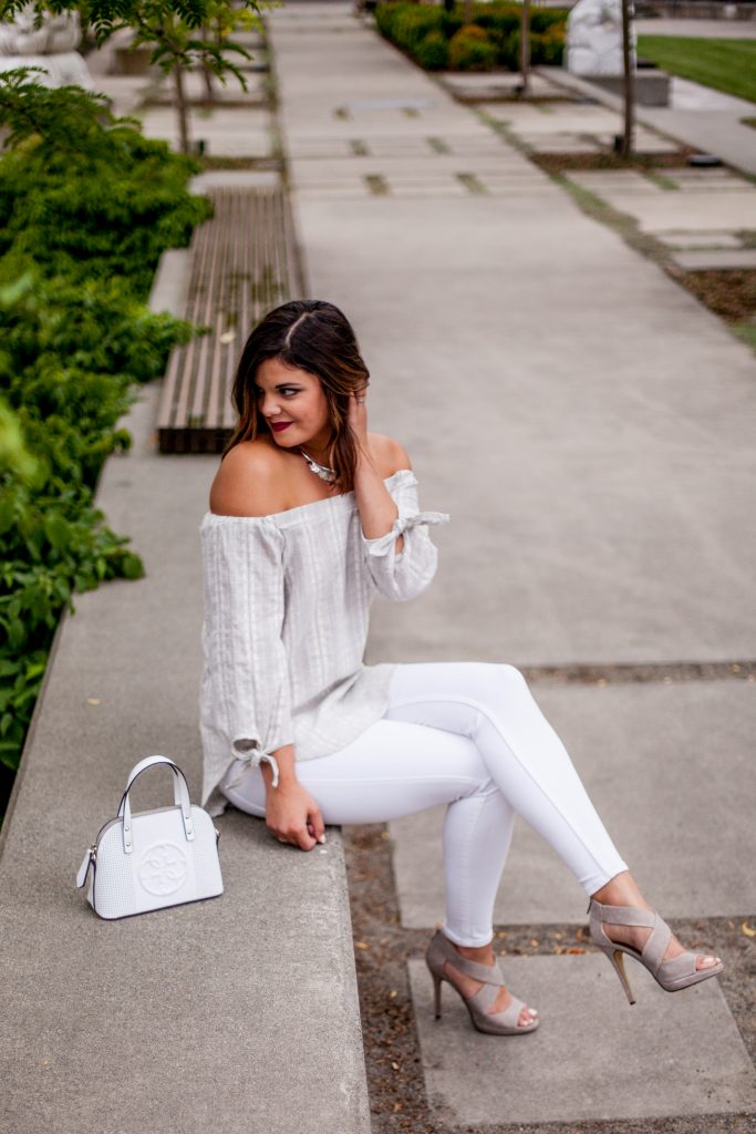 HERboutique.com | Wearing White After Labor Day | White Jeans | Off the Shoulder top
