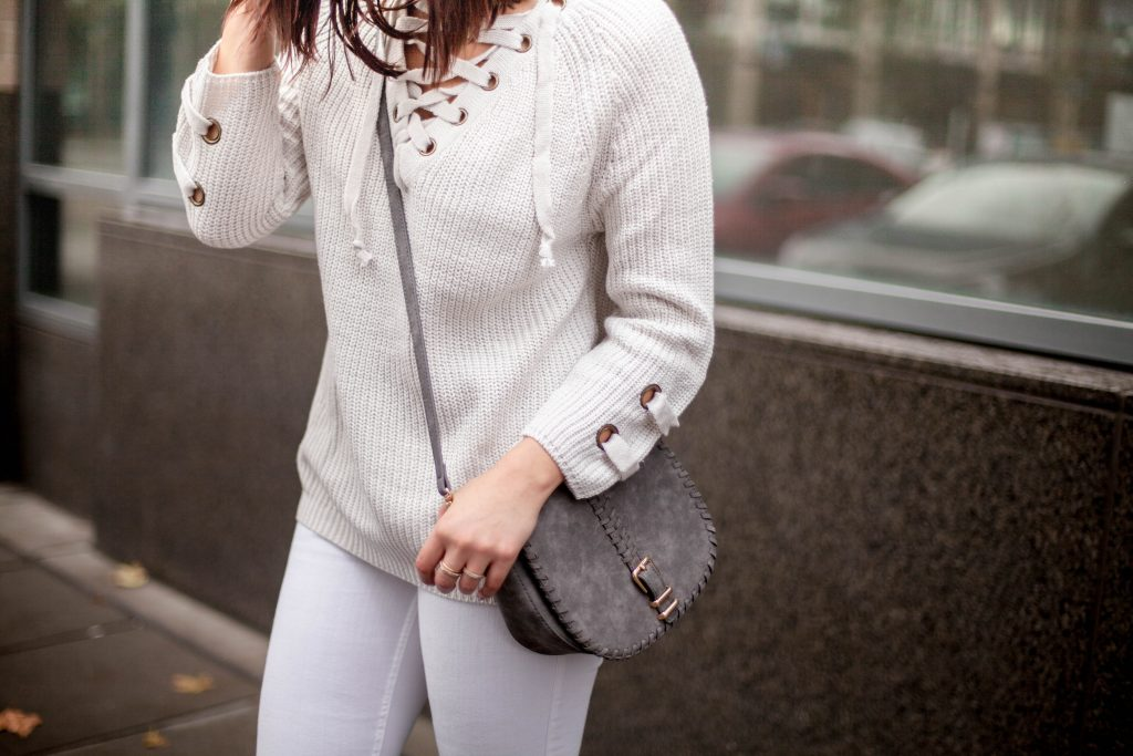 HERboutique.com | Lace up Sweater | Winter whites