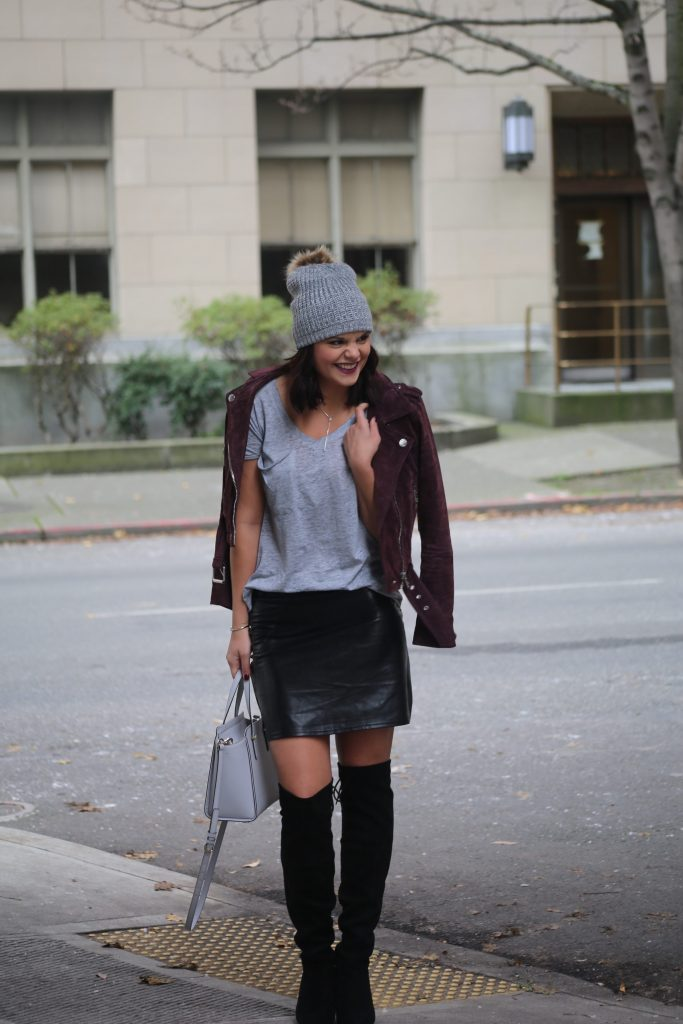 It's OK to not be OK | HERboutique.com | Pocket Tee | Beanie | OTK boots | Suede Moto Jacket